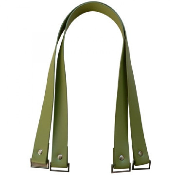 Vinyl bag handles - Pea green with rectangular hardware