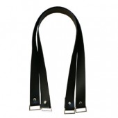 Vinyl bag handles - Black with rectangular hardware
