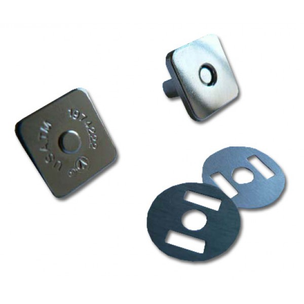 "Magnetic snap closures - ½"" (14mm) - Silver - Slimeline square"
